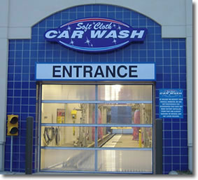 Alaska car wash door with Strapeze counterbalance system