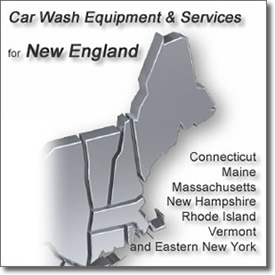 New England Map: Car Wash Equipment & Services for New England; Connecticut, Maine, Massachusetts, New Hampshire, Rhode Island, Vermont and Eastern New York.