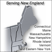 New England map showing our service area including Connecticut, Maine, Massachusetts, New Hampshire, Rhode Island, Vermont and Eastern New York.
